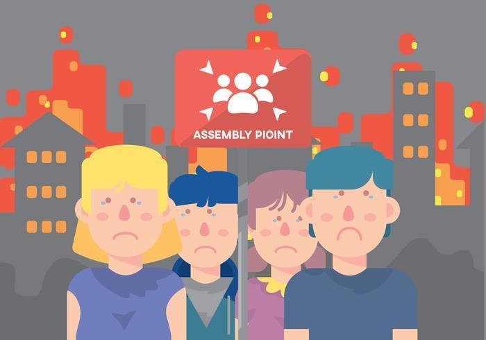 Sad Kinderen Op Assembly Point vector
