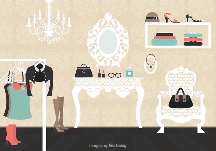 Vintage Dressing Room Vector Illustration