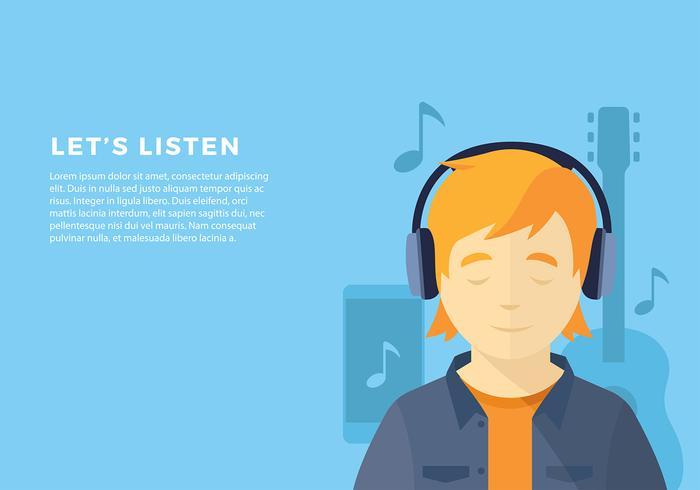 Head Phone Listening Pop Vecteur libre