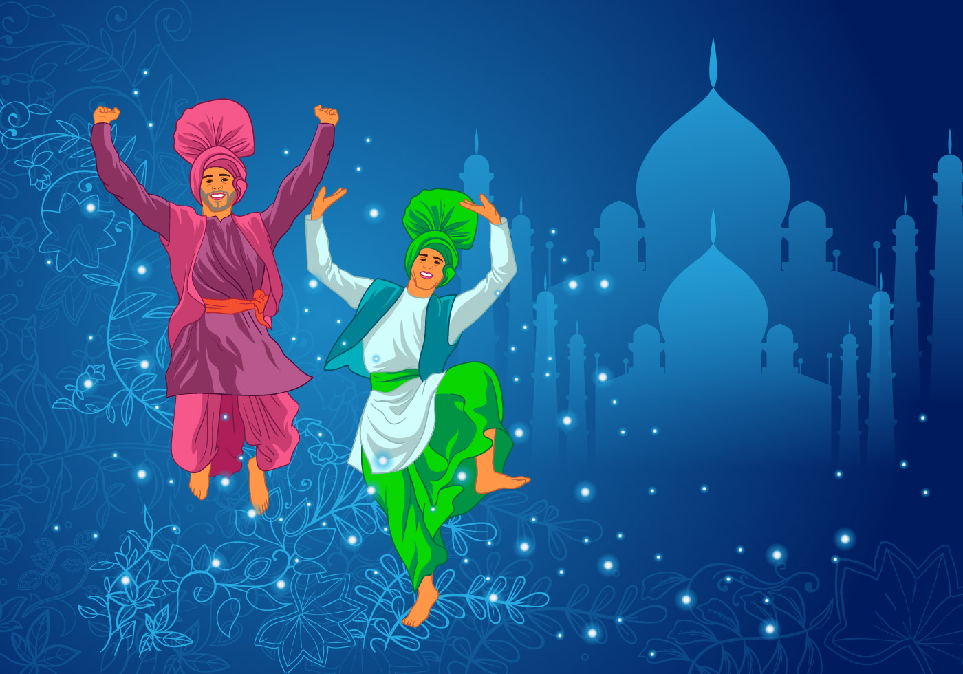 Two Man Performing Bhangra Dance Vector - Download Free ...