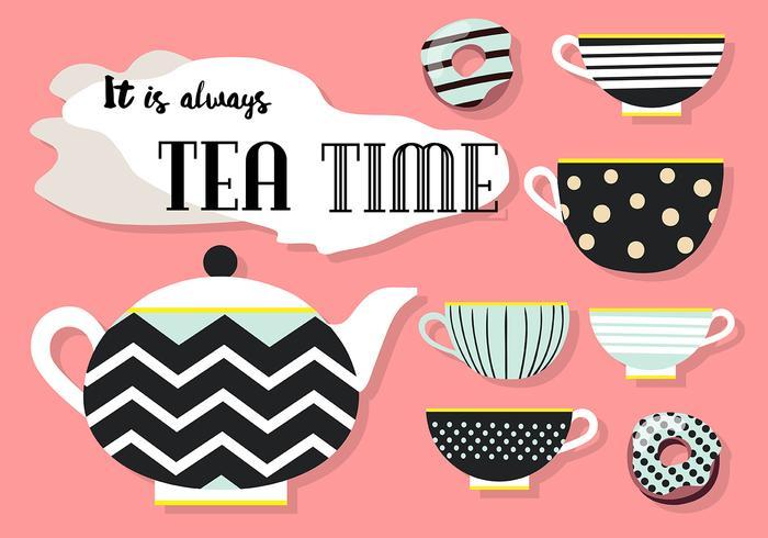 Conjunto Libre de vectores iconos de té