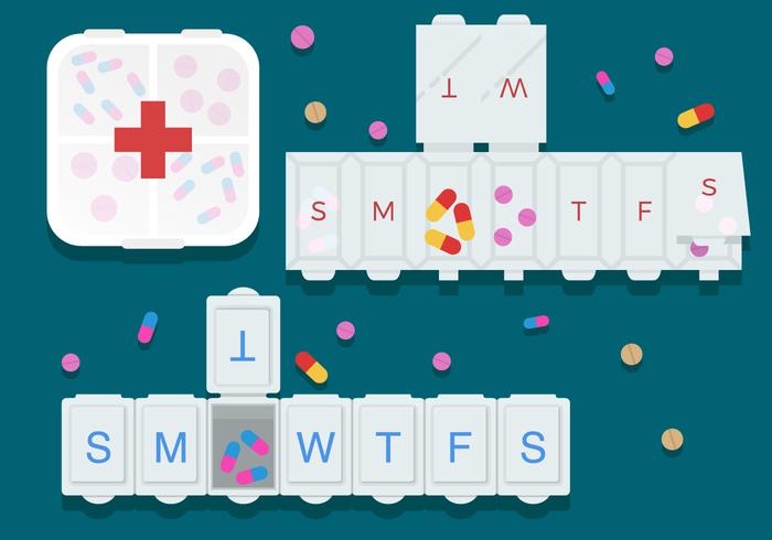 Pilules et Pill Box Vecteurs