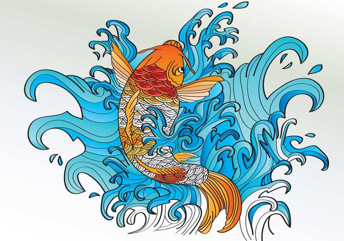 Koi Coloring Tattoo Style Vector