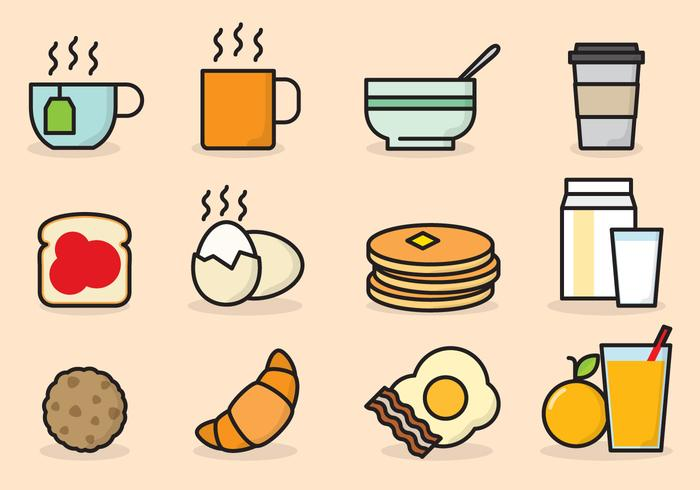Breakfast Cute Icons vecteur