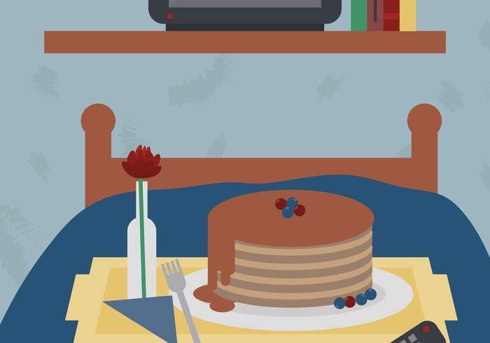 Pancake Breakfast in Bed Vector