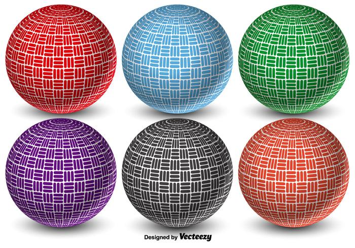 Colorful 3D Abstract Vector Dodgeball Balls