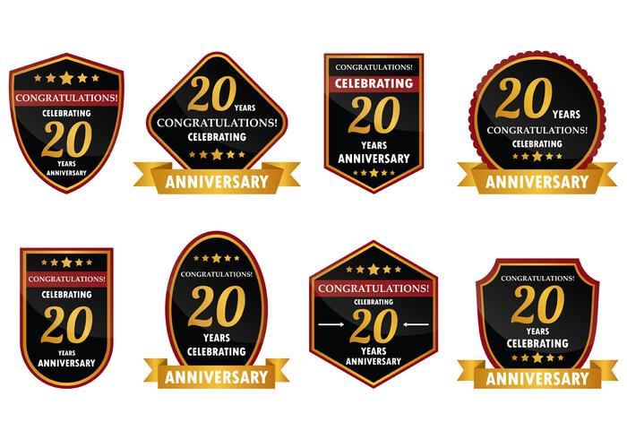 20 Year Anniversary Badge Vector