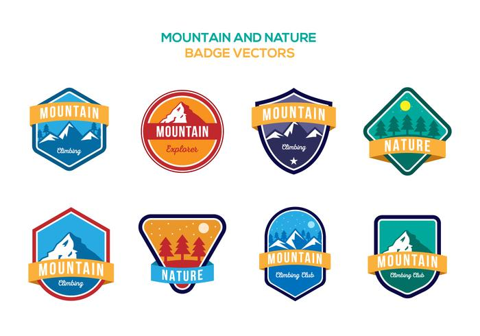 Free Mountain et Nature Badge Vecteurs