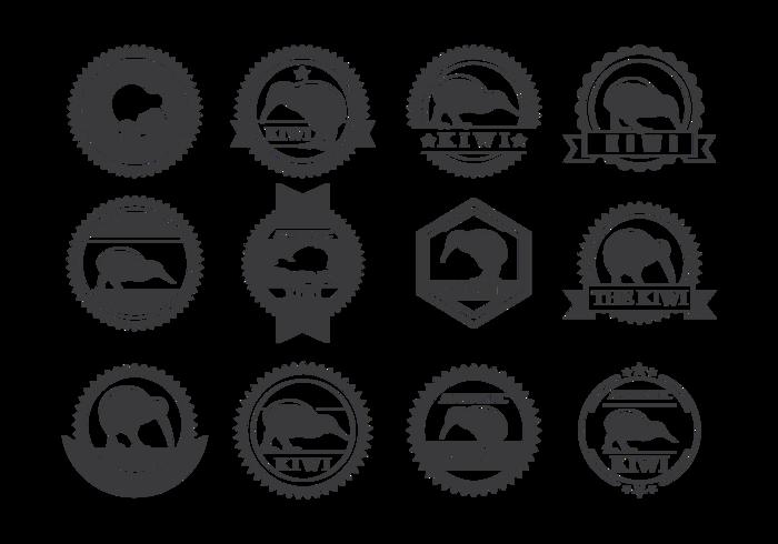 Kiwi Bird Labels Vector