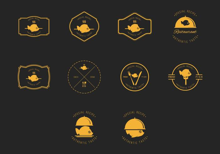 Fish Fry Badge and Label Vector Set