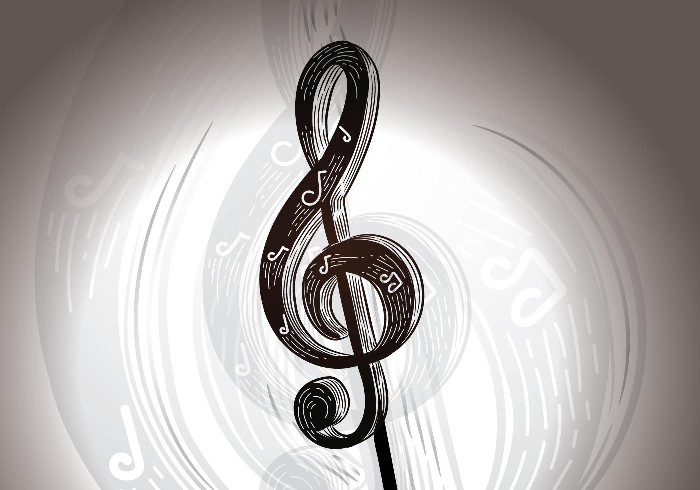 Открытка с скрипичным ключом, надписями