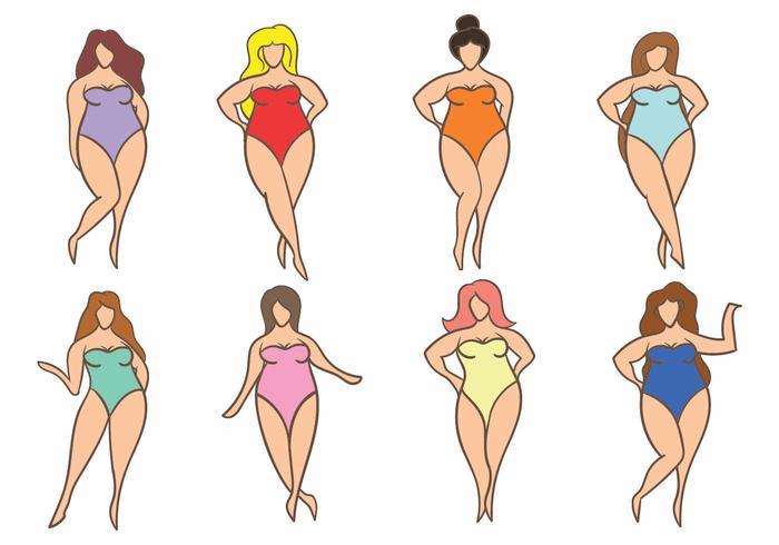 Simple Woman Plus Size Icon Set