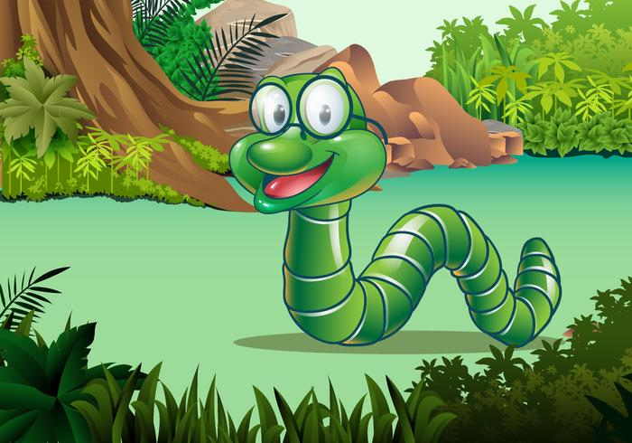 Cute Earthworm Vector Character
