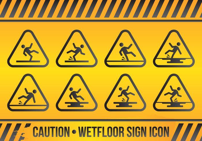 Wet Floor Sign Icon Set vector