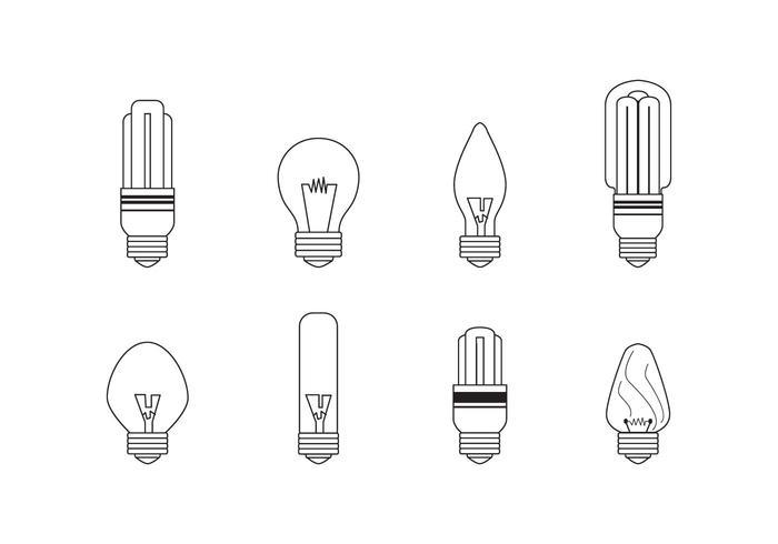 Iconos del bulbo de luz lineal Ampolla