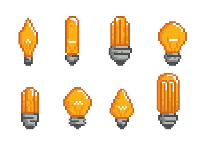Icone del pixel della lampadina della fiala vettore