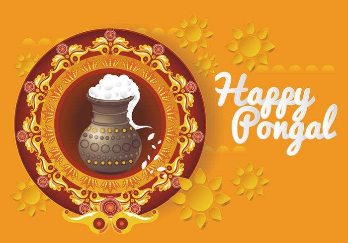 Beautiful and Colorful Pongal Card Design Vector