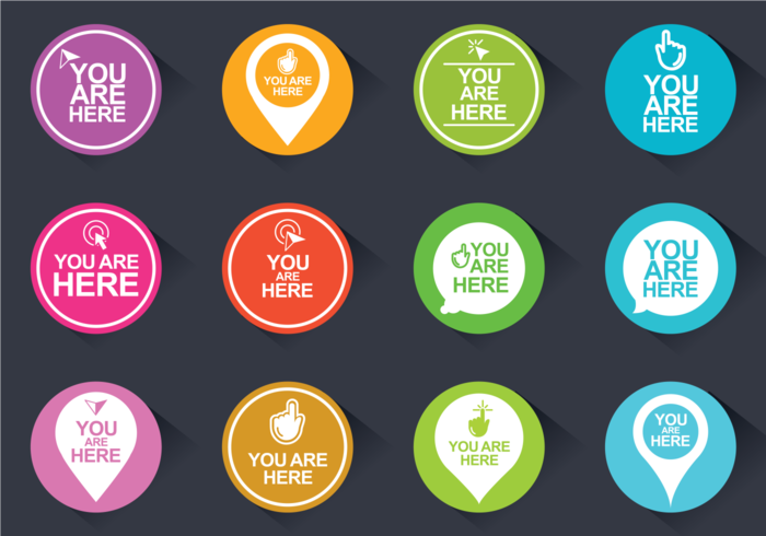You Are Here Icons Vector