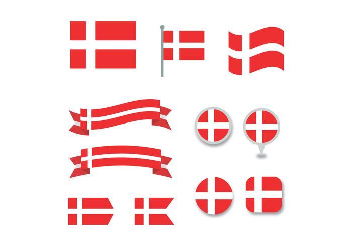 Set Of Danish Flags