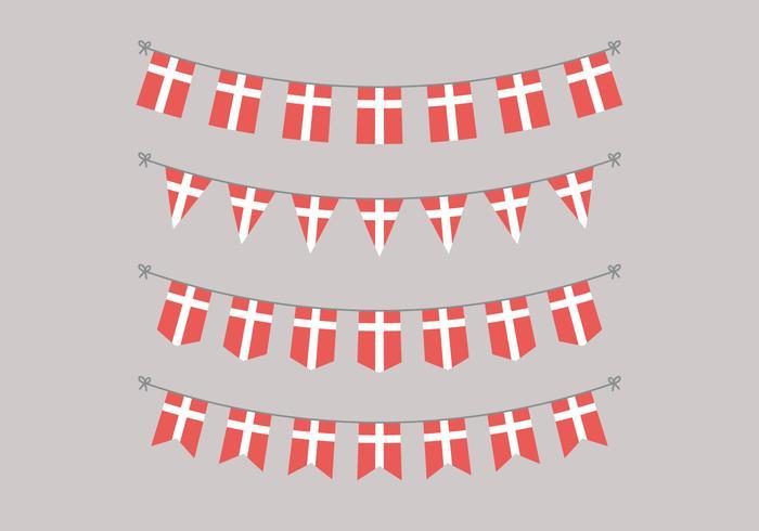 Guirlandas de bandeiras dinamarquesas