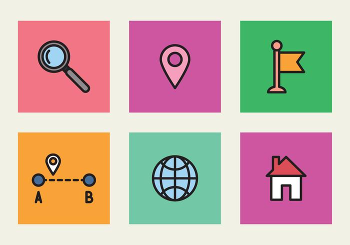 Colorful Icons Of Location
