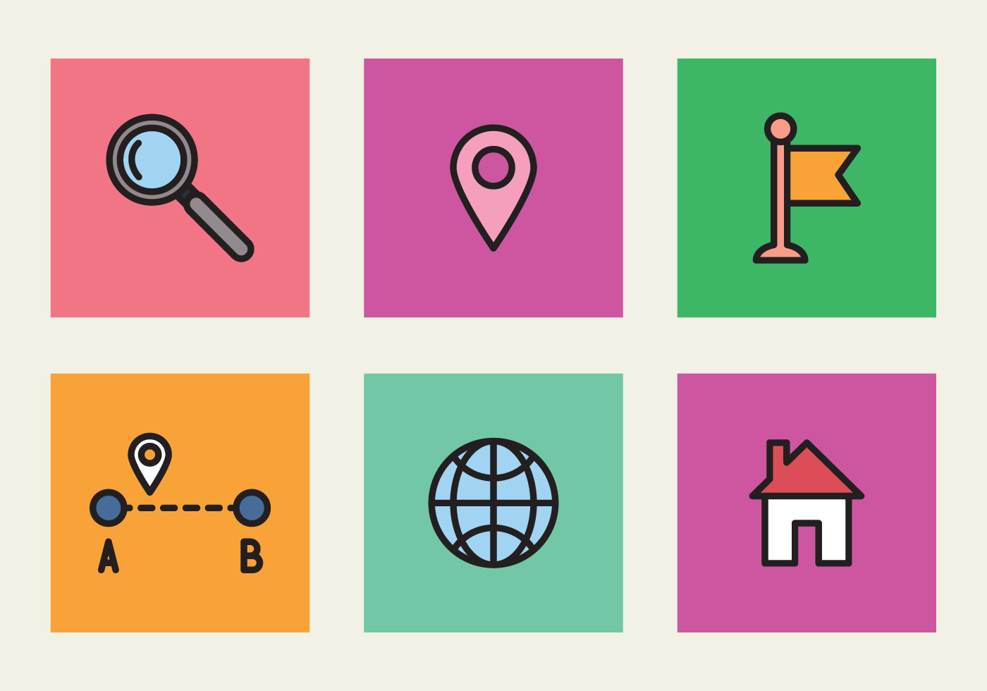 Location Position Icon Free Vector Graphic On Pixabay: Colorful Icons Of Location
