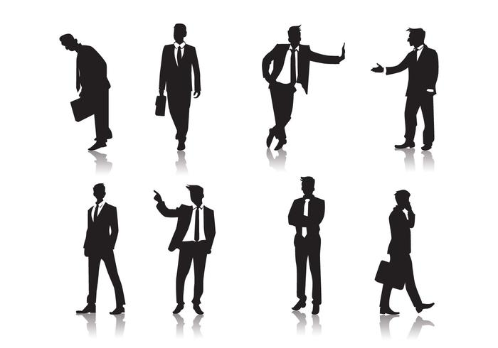 Standing Men People Silhouettes Vector