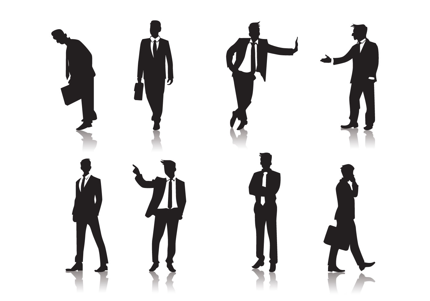 Standing Men People Silhouettes Vector - Download Free ...