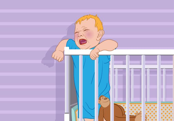 Crying Baby in a Crib Vector