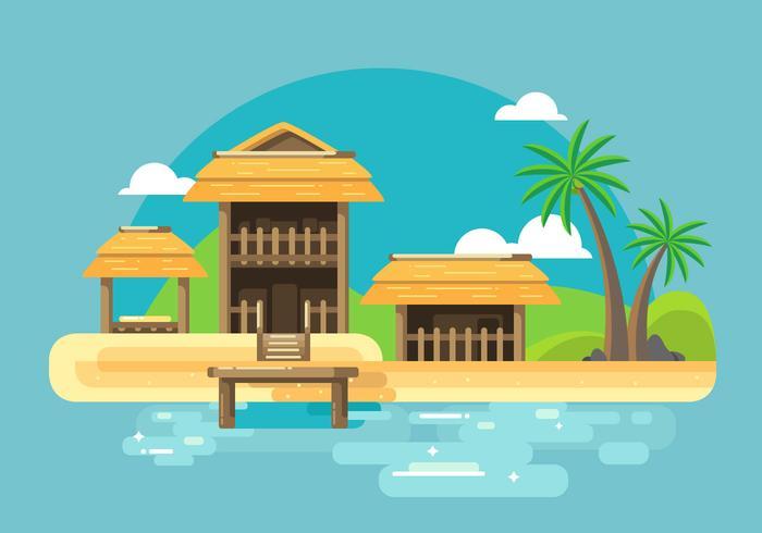 Cabana Beach Vector