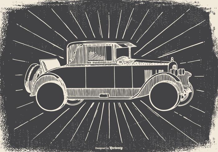 Sketchy Vintage Car Illustration