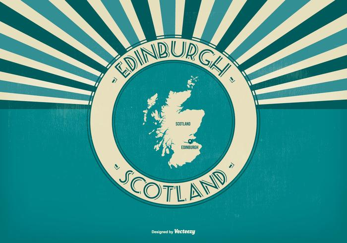 Edinburgh Scotland Retro Illustration