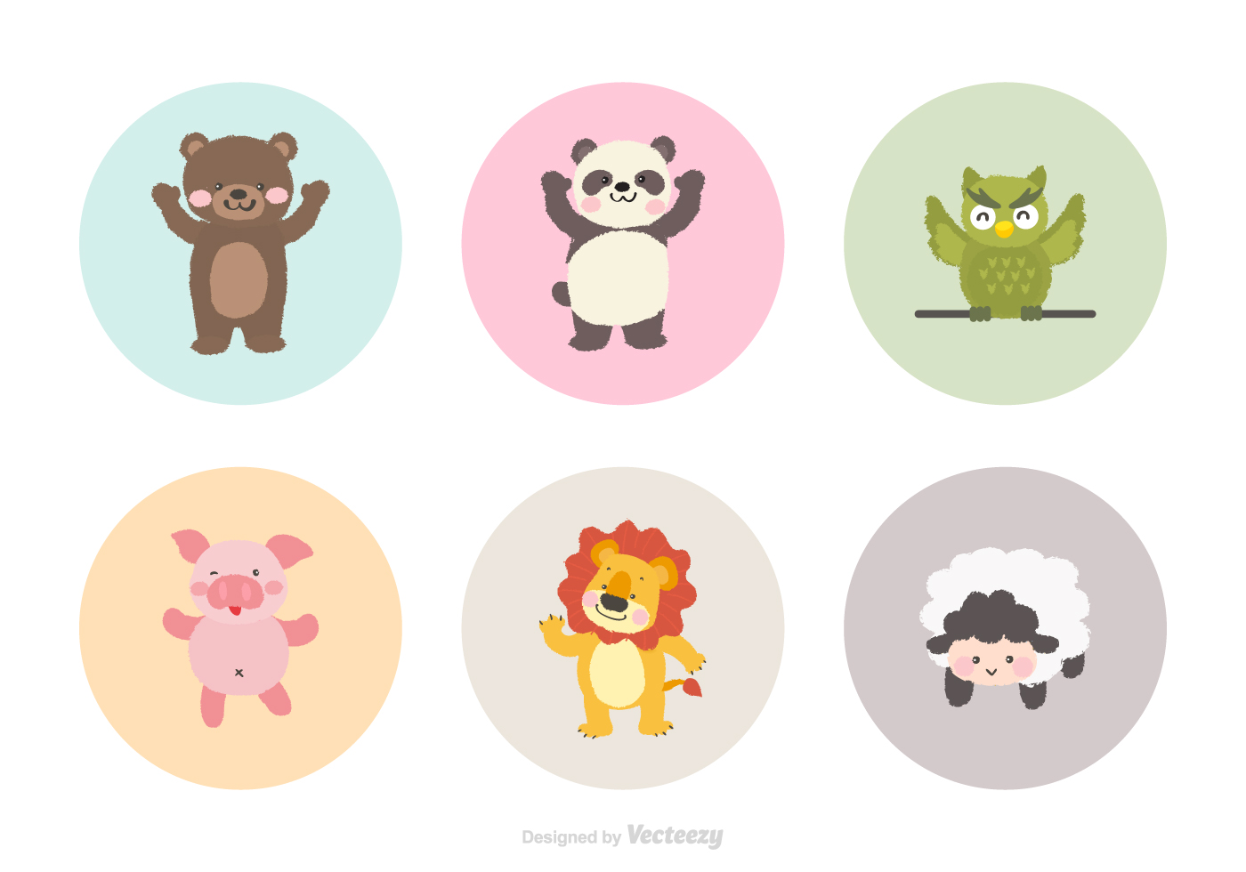 cute cartoon animals vector download free vector art