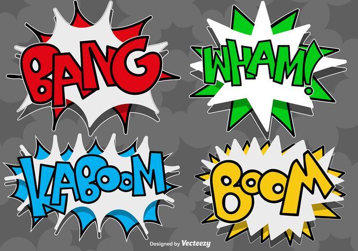 Icone di bolle di discorso comico vettoriale