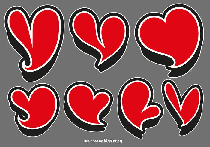 Vector Set Of Red Heart Stickers