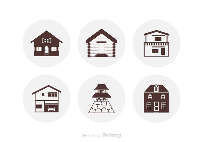 Silhouette Houses Vector Icons
