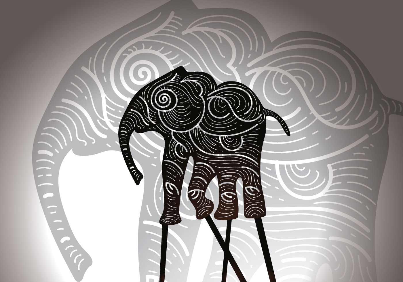Free Elephant Shadow Puppet Vector Illustration - Download Free ...