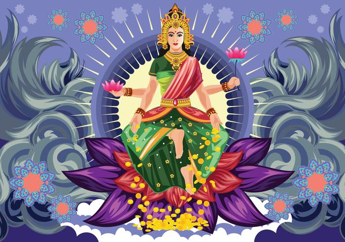 Free Blue Goddess Lakshmi Vector