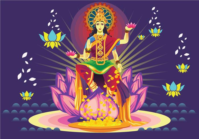 Free Dark Blue Goddess Lakshmi Vector