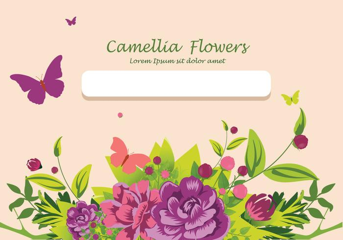 Camellia flowers invitation card design illustration
