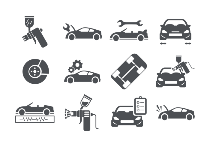 Auto body icons vector download free vector art stock for Motor vehicle body repair