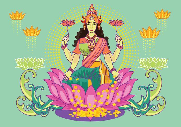 Free Teal Goddess Lakshmi Vector