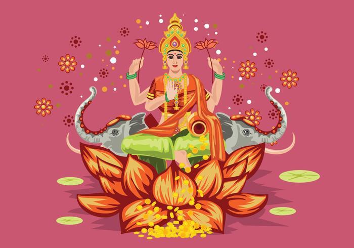 Pink Illustration of Goddess Lakshmi