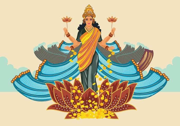 Blue Illustration of Goddess Lakshmi