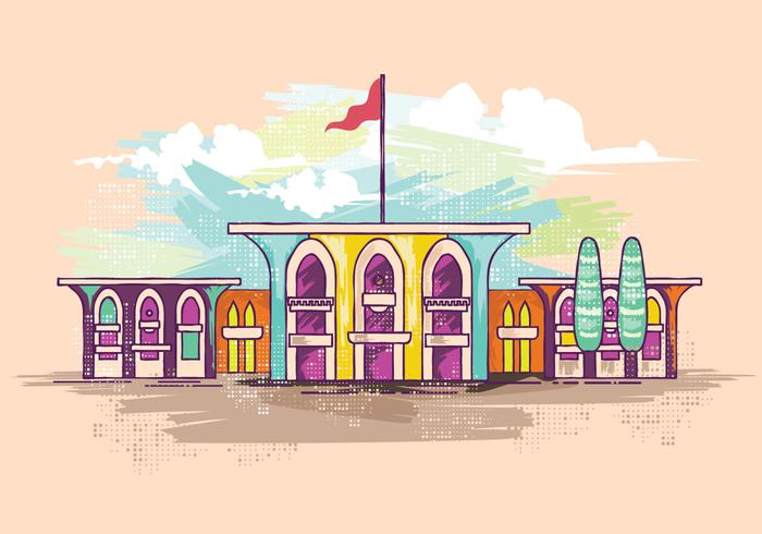 Al Alam Palace Watercolor Vector