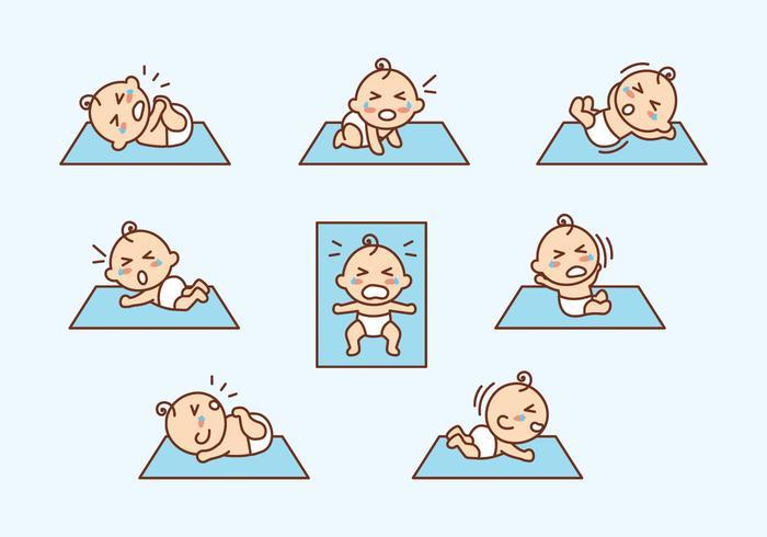 Cartoon Flat Crying Baby Vector
