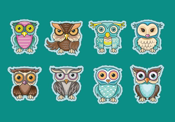 Set of Cute Owls or Buhos Sticker Vectors