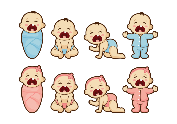 Crying Baby Cartoon Vector