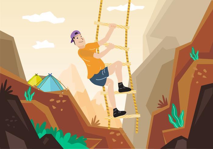 Rope Ladder Adventure Mountain Climbing Illustration