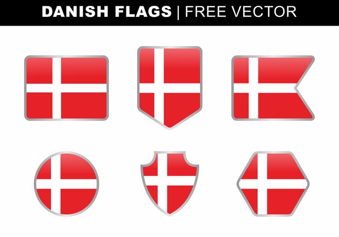 Danska flaggor Gratis Vector